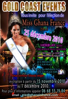 Affiche de l'élection Miss Ghana France 2011