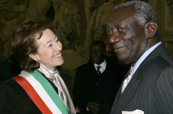 Mrs Moratti, Mayor of Milan, and John Kufuor